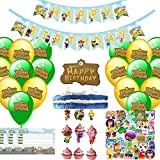 102pcs Birthday party supplies, including Animal Crossing Party banner cake hat 20 cake hat 20 balloon 10 invitation card 50 stickers