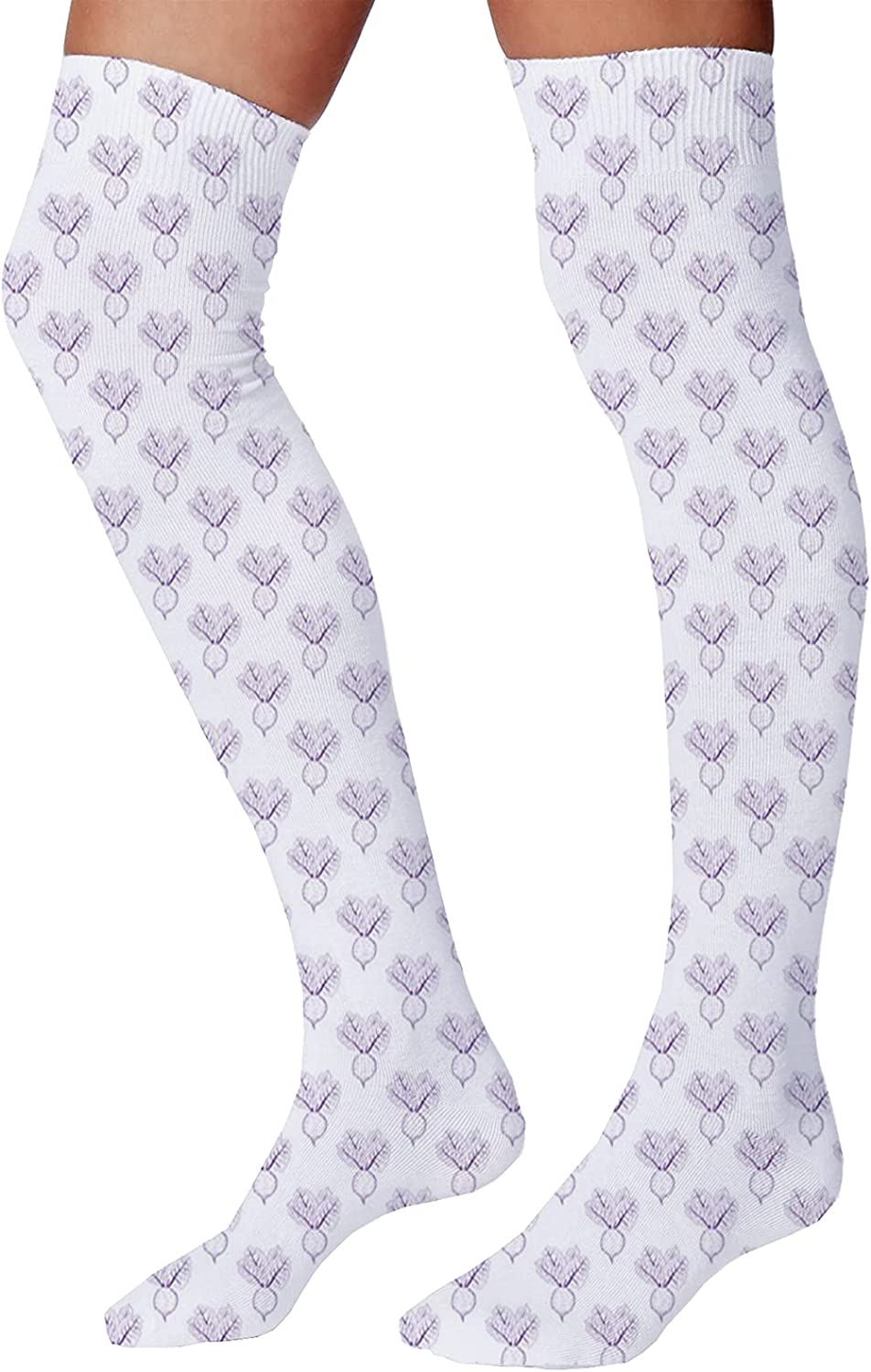 Men's and Women's Fun Socks,Monochrome Repeating Simplistic Food Pattern with Sketchy Drawn Beetroots