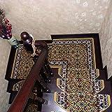 Topshop Alfombra de peldaños de Escalera Peldaños de Escalera para el hogar de Lujo Dorado - Alfombrillas de Escalera Antideslizantes Gruesas, Escalera Interior y Exterior (5 Piezas)