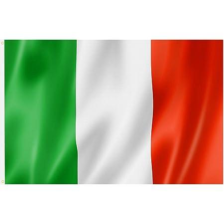 Grande Bandiera Italiana con Anelli 90 x 150 cm, stendardo da Appendere per la Coppa del Mondo, Il Campionato Europeo, Eventi Sportivi - di TRIXES