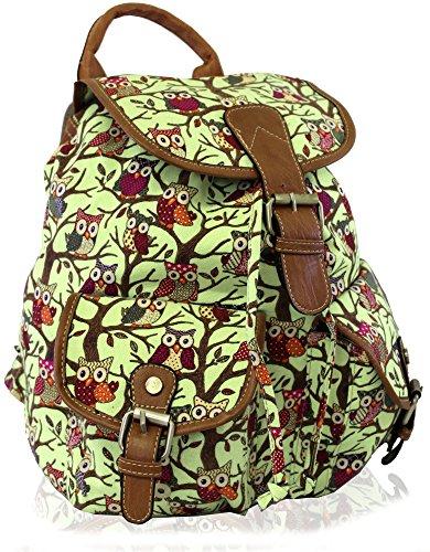 Kukubird Owl Print Twin Pocket Backpack/Rucksack/School Bag (GREEN)