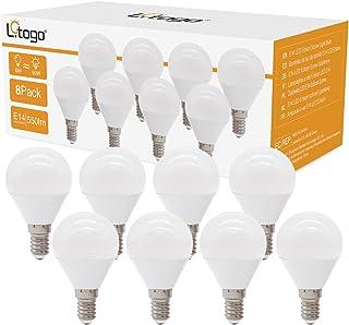 Litogo Bombilla LED E14, G45 6W(equivalente a 50W) Bombillas Bajo Consumo, 550 LM Bombillas LED Casquillo Fino, Luz Cálida...