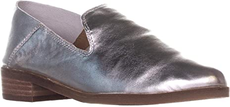 Lucky Brand Cahill Women's Leather Slip On Stacked Heel, Platinum, Size 8.5