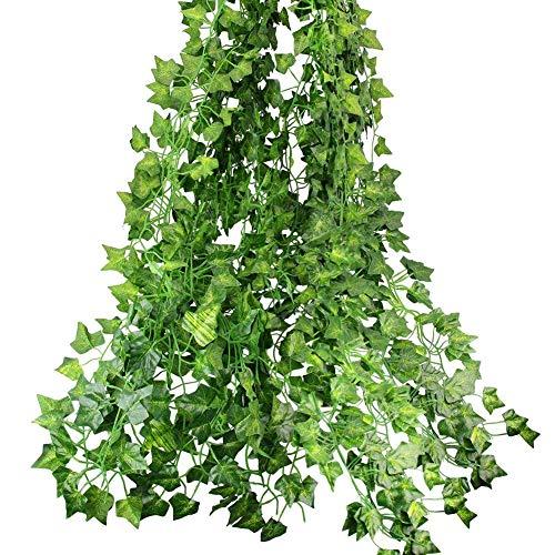 フェイクグリーン 壁掛け アイビー 藤 12本入り 人工観葉植物 インテリア グリーン 植物 吊り