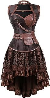 Women's Steampunk Costume Corset Dress Halloween Costumes Steam Punk Gothic Corset Skirt Set