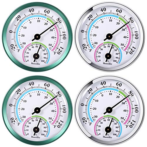 4 Pieces Indoor Outdoor Thermometer Hygrometer 2 in 1 Temperature Humidity Gauge Analog Hygrometer for Indoor Office Home Room Outdoor, No Battery Required, in Green and White