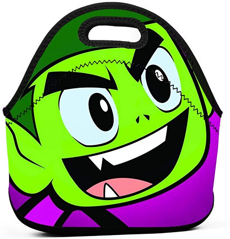 Neoprene Lunch Bags Food Container Tote For Women Men Portable Insulated Picnic Bento Handbags For Work Outdoor Travel Teen Titans Go Beast Boy And Friends Poster