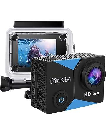 """Piwoka Cámara Deportiva HD1080P 12MP Impermeable 30M acción cámara submarina Pantalla 2"""" LCD Gran Angular con Multi Accesorios para Deportes, Buceo, Coche, Moto, Bicicleta etc."""