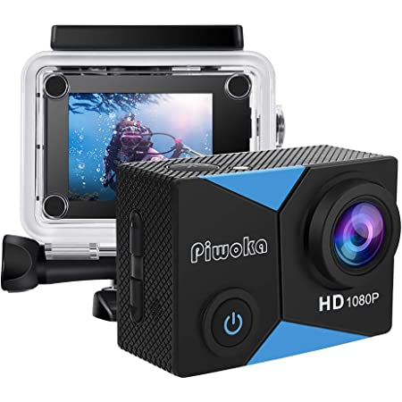 """Piwoka Action Camera 1080P 12MP Waterproof Underwater 98ft Sports Camera 2"""" LCD Screen Wide Angle with Mounting Accessories Kit (Black-Blue)"""