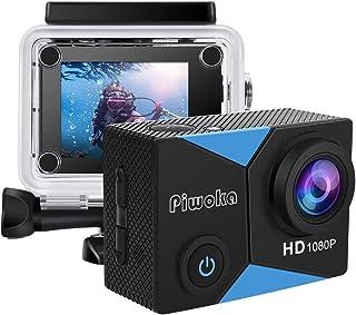 """Piwoka Cámara Deportiva HD1080P Impermeable 30M acción cámara submarina Pantalla 2"""" LCD Gran Angular con Multi Accesorios ..."""