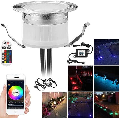 20er Bluetooth RGB Led Led encastré au sol extérieur 0.6W Ø31mm IP67 étanche LED spot encastré patio cuisine jardin l...