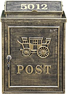 zenggp Luxury Letterbox Letter Box Cast Aluminum Wall Mounted Mailbox Antique Wall Country House Style,Copper2