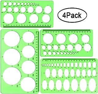 Círculo y Plantilla Ovalada, Paquete de 4 Plantilla de Medición de Plástico Transparente Verde Regla Plantilla de Regla Geométrica para Oficina y Escuela, Encofrado de Edificios, Plantillas de Dibujo