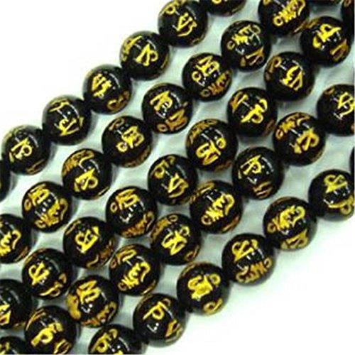 Sweet & Happy Girls store 12mm schwarz Achat Roundgemstone tibetische Guru Mantra Beadswith Anmelden Beadsstrand15 Zoll Schmuckherstellung Perlen