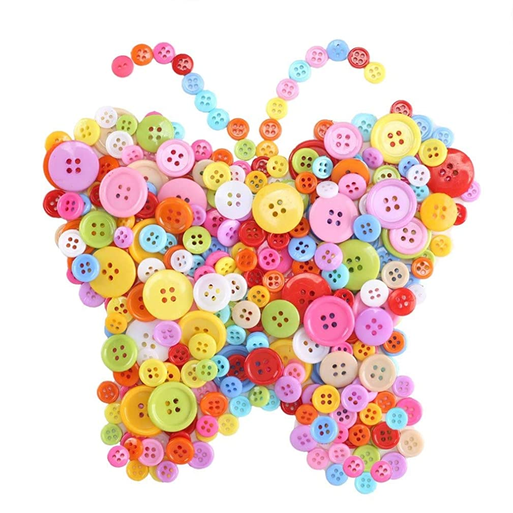 Anpatio 1100pcs Resin Buttons Assorted Colors and Size Bulk Round Craft Buttons 4 Holes Sewing Buttons for Clothing DIY Crafting Painting Children's Manual Scrapbooking Decoration