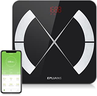 Body Fat Scale, EPLIANS Smart Body Composition Scale, Body Weight Scale, Body Composition Monitor, Smart BMI Scale Digital Bathroom Weight Scale, Body Composition Analyzer with Smartphone App (Black)