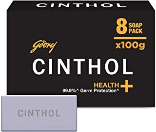 Cinthol Health+ Bath Soap, 100g (Pack of 8) - 99.9% Germ Protection & Insta Deo Fragrance