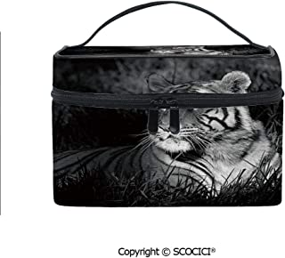 Printed Portable Travel Makeup Cosmetic Bag Bengal Tiger Lying in Grass Africa Savannah Monochrome Image Decorative Durable storage bag for Women Girls