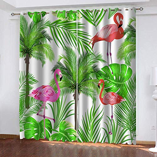 meilishop 3D Curtains Flamingo 3D Digital Printing Curtain, Thermal Insulated High Precision Upgrade Polyester Drapes, For Living Room Bedroom 265(H) x200(W) Cmx2 Panels/set