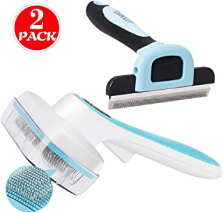 YLONG Self Cleaning Slicker Brush & Pet Shedding Brush 2 Pack Professional Pet Grooming Brush for Dogs and Cats,with Short to Long Hair