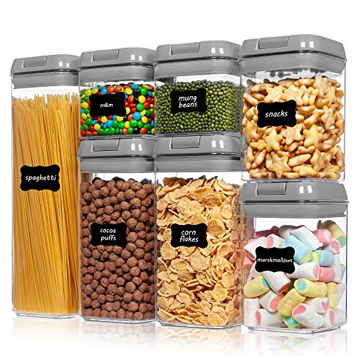 Airtight Food Storage Containers,Vtopmart 7 Pieces BPA Free Plastic Cereal Containers with Easy Lock Lids, for Kitchen Pantry Organization and Storage, Include 24 Labels,Gray