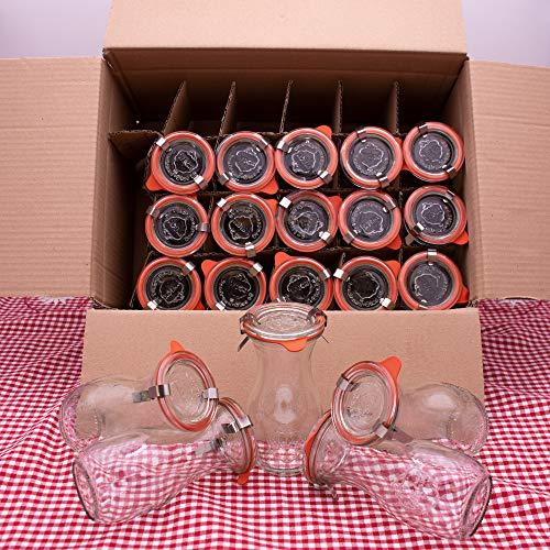 WECK 20er Set 250ml Leere Glasflasche inkl. Verschluss und Dichtung - Zum selbst befüllen von Milchflaschen, Saftflaschen, Smoothie Flaschen