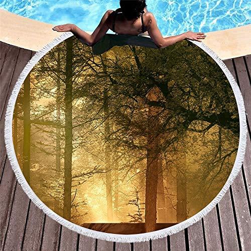 Bosque Cuento De Hadas Impreso Toalla De Playa Redonda con Borla Microfibra Yoga Piscina Suave...