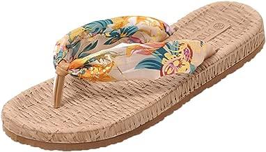 TUDUZ Zapatos de Playa Planos para Mujer Chanclas Bohemias Pantuflas de Tela de Algodón