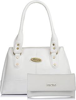 Fostelo Women's Combo Handbag & Clutch (White & White) (FSB-1032-FC-31)