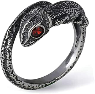 Aooaz Ring Silver Plated Men Punk Rock Chameleon Ring Vintage Rings