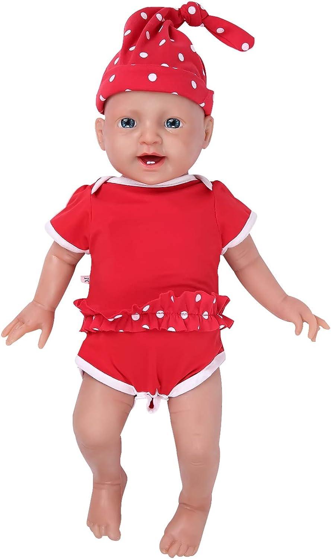 IVITA Ganzkrper-Silikon Reborn Babypuppe realistisch neugeborenes Baby Doll echte Baby Doll handgemachte lebensechte Blaue Augen weiche lebendige Baby Doll Mdchen(WG1508-51cm-3999g-Mdchen)