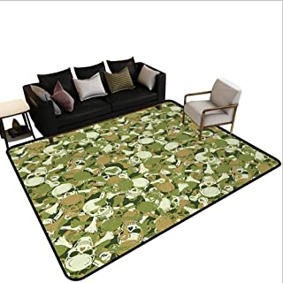 Camoclassroom Carpet Sketchy Skulls and Crossbones Warning Sign Spooky Scary Horror Tile Outdoor Rug Area Light Brown Green Light Green 4'x6'