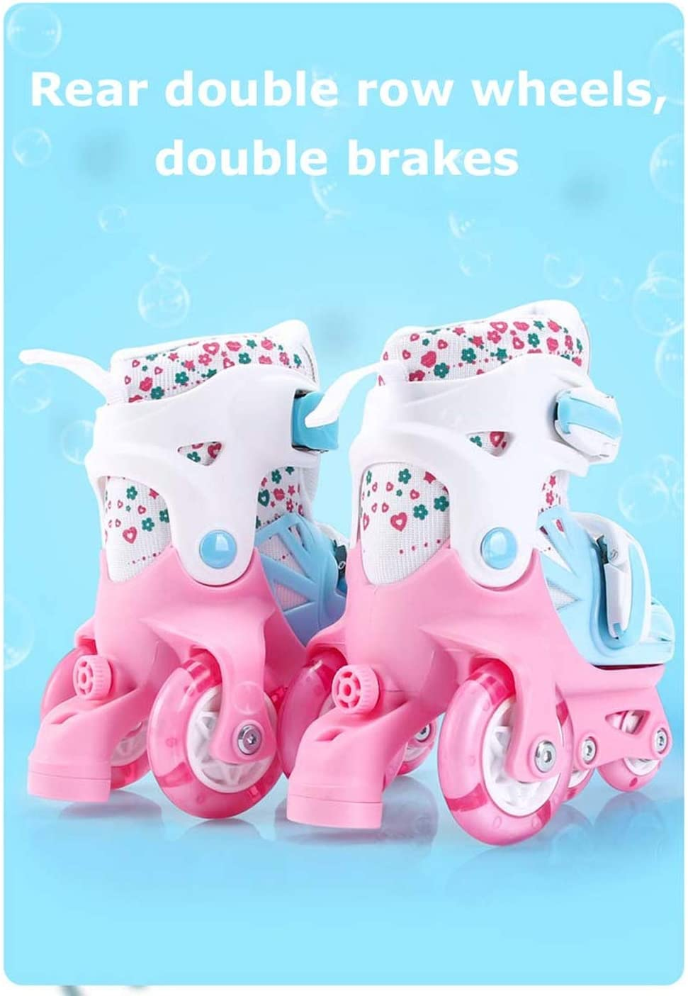 Girls Boys for Kids Size Adjustable Light Up Roller Skates 4 Wheel Double Brakes Adjustable Breathable Skating Shoes Beginners Roller Skates