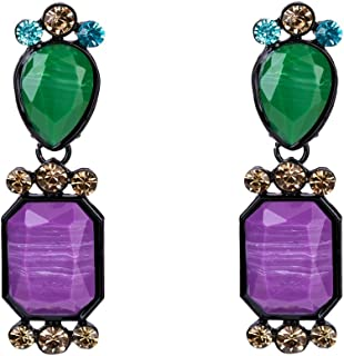Timagebreze Caliente venta Aretes de piedra de resina + aleacion + acrilico para mujer Aretes de gota de declaracion geometrica diamante de imitacion vintage moderno (Purpura + Verde)