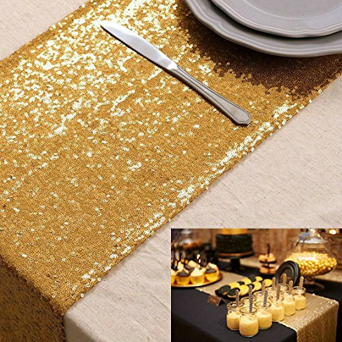 ShinyBeauty Black Sequin Table Runner-12 x 72-inch by (Or, 30x180cm)