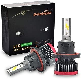 DriveVision H13 LED Headlight Bulb Conversion Kit, 6000 Lumens 6000K Xenon-White, Dual-Beam (hi/Low) Superbright DX3000 Series – 2 Year Warranty