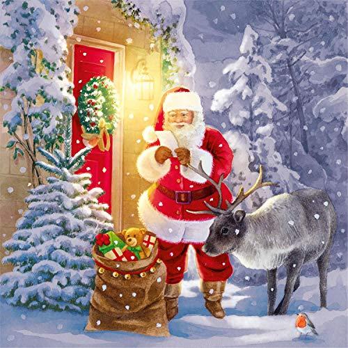 Tovaglioli di carta monouso, Babbo Natale e renne, 20 pezzi 3 strati - 33 x 33