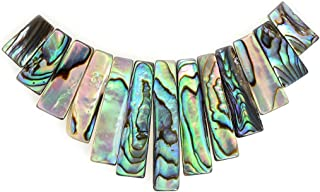 Justinstones Natural Abalone Shell Rectangle Graduated 13pcs Wide Beads Set