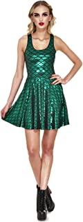 Shiny Mermaid Tail Fish Scales Women's Sleeveless Pleated Skater Dress