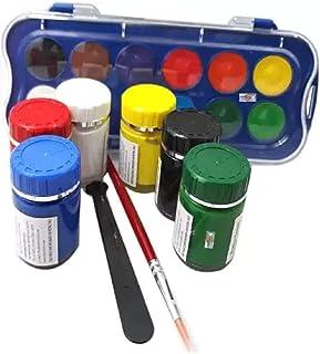 ملصق 6 درجات ألوان فاخرة من DOMS Majestic Basket مع 12 لون مائي ساطع إلى جانب فرشاة ومنقي