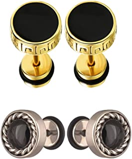 8fa35b4c2 Chooz Designer Studio Summer Collection Barbell Dumbbell Black Gold And Round  Diamond Silver Black Plated Stud
