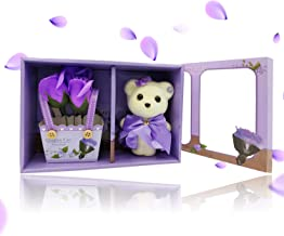 Home Runner Artificial Rose Bouquet with Cute Small Teddy Bear - Best Gifts for Valentine's Day, Anniversary, Birthday, Mother's Day (Purple, Teddy with Rose)
