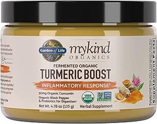 Garden of Life mykind Organics Turmeric Boost Inflammatory Response  Powder, Curcumin (95% Curcuminoids) & Probiotics, Organic Non-GMO Vegan & Gluten Free Herbal Supplements, 4.76 Ounce