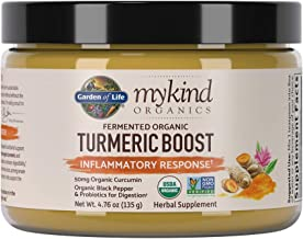 Garden of Life mykind Organics Turmeric Boost Inflammatory Response  Powder, Curcumin (95% Curcuminoids) & Probiotics, Organic Non-GMO Vegan & Gluten Free Herbal Supplements, 4.76 Ounce