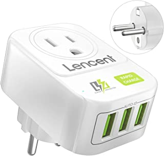 US to Europe Travel Adapter, LENCENT European Plug with 3 USB, Schuko Plug Outlet Power Adaptor Ground Charger for EU Germany France Spain Iceland Portugal Greece Netherlands and more (Type E/F)