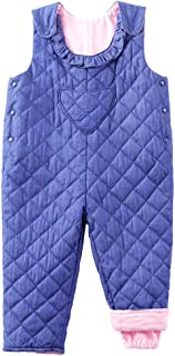 Little Kids Adjustable Denim Overall Winter Puffer Quilted Bib Pants Not Waterproof