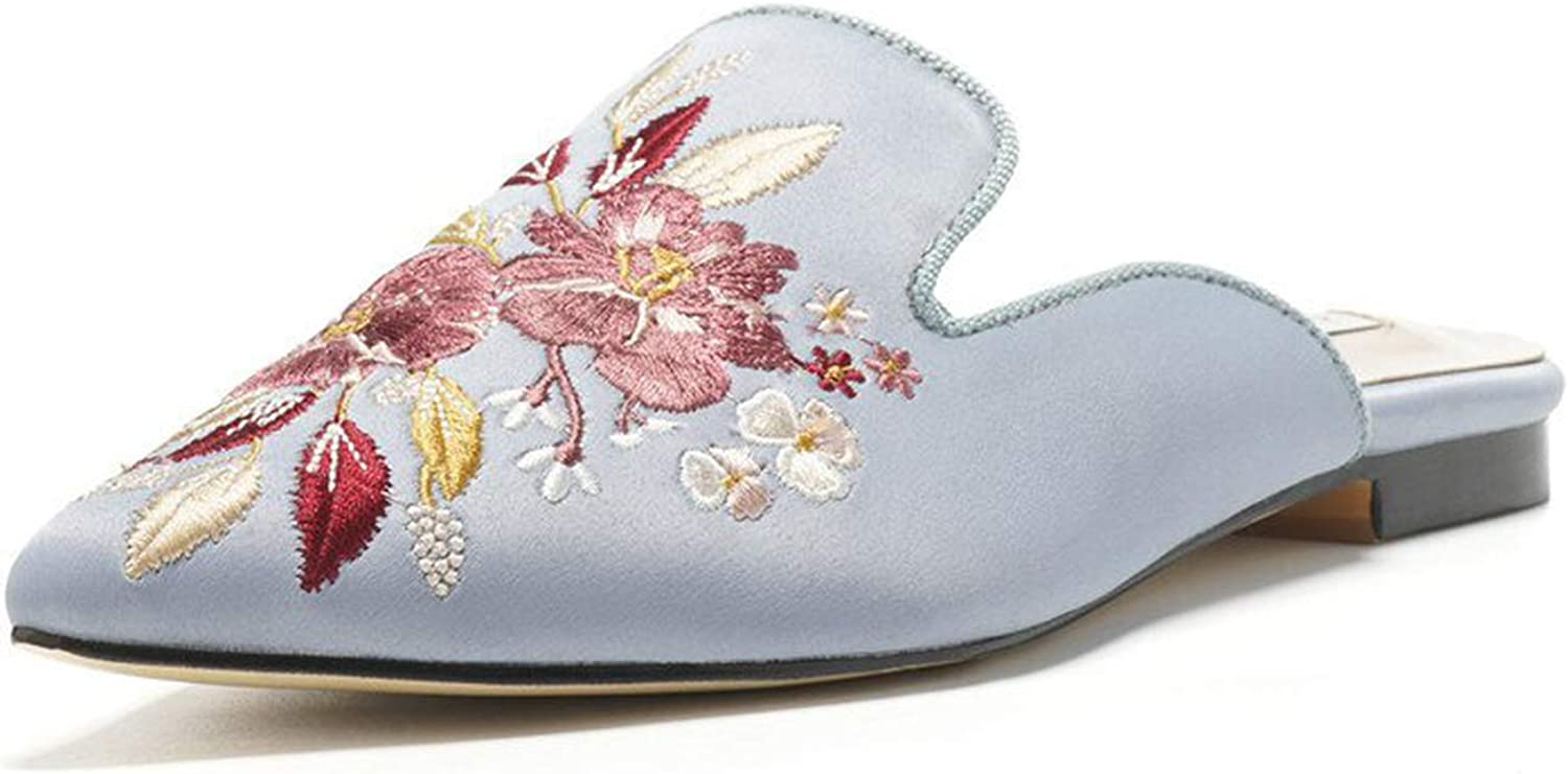 Women Embroidered Flats Mules Slippers bluee Satin Slip On Pointed Toe