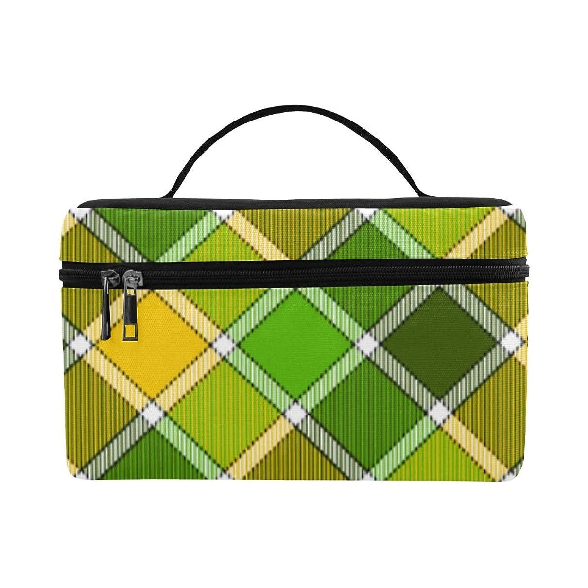 雪月リスナーTELSG メイクボックス 黄色い緑格子縞 コスメ収納 化粧品収納ケース 大容量 収納ボックス 化粧品入れ 化粧バッグ 旅行用 メイクブラシバッグ 化粧箱 持ち運び便利 プロ用
