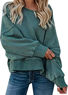 Zandiceno Women's Casual O Neck Criss Cross Backless Loose Long Batwing Sleeve Hoodie Pullovers Tops