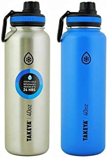Takeya Thermo Double Wall Vacuum Insulated Stainless Steel Water Bottle 2 Pack 40 oz Blue and Silver 竹屋サーモダブルウォール真空断熱ステンレススチールウォーターボトル2パック40オンスブルーとシルバー [並行輸入品]